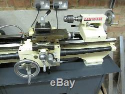 Axminster BVM30 Metalworking Lathe 1PH 240VAC On Metal Bench + Coolant Pump