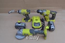 Ryobi One+18V 3 Piece Kit(impact, grinder, hammer drill, 5&4Ah battery & charger)