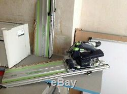 Used Festool Cordless Circular Saw HKC 55 and Carry Bag, Blades & Cutting Guides